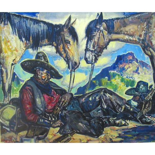 Lon Megargee Cowboy Horses Oil