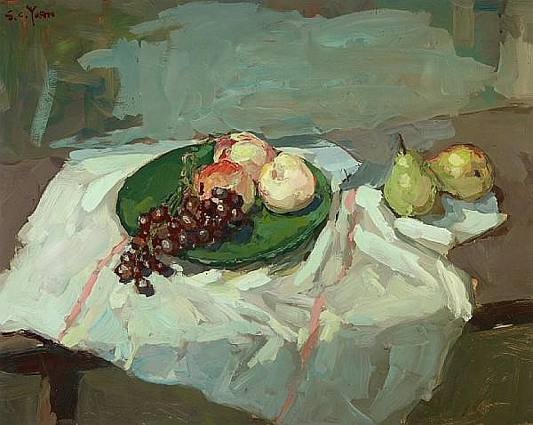 Si Chen Yuan (1911-1974) Grapes, peaches and pears on a table 24 x 30in