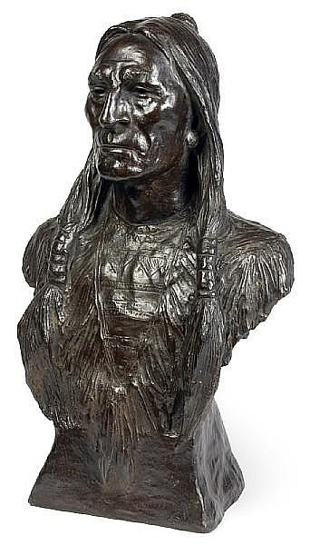 Max Bachmann (1862-1921) Bust of an Indian, 1902 height: 22 1/2in