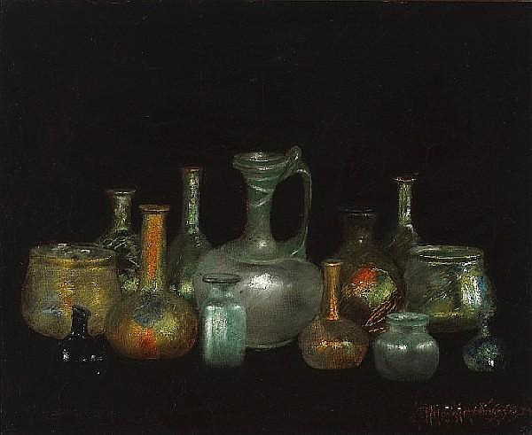 Henry Alexander (American, 1860-1895) Still life with Cyprus glasses 15 1/2 x 19in