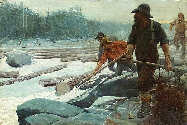 Edwin Roscoe Shrader (American, 1878-1960) The Spring drive, following the logs down the river 24 x 36in