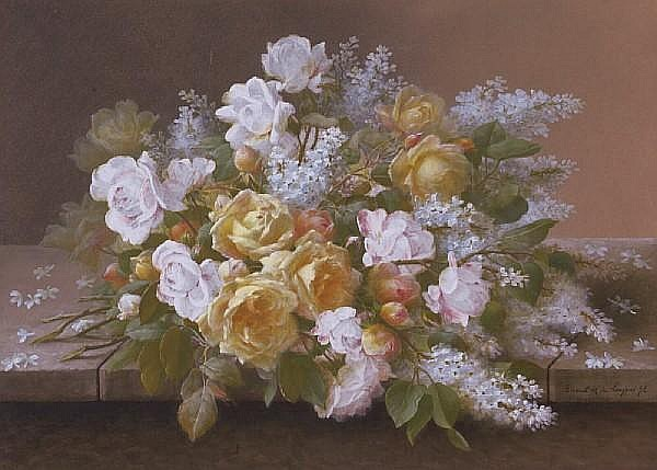 Raoul M. de Longpre (French/American, 1843-1911) Pink roses and white lilacs; Yellow and pink roses and white lilacs (two) first sight: 21 x 28 3/4in; second sight: 20 1/4 x 28 1/4in