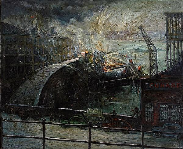 John Decker (American, 1895-1947) The 'SS Normandie' on fire, New York Harbor, 1942 28 1/4 x 34 1/2in