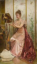 Frédéric Soulacroix  (French, 1858-1933)  -  A musical moment 16 1/2 x 10 1/2in (42 x 26.8cm)