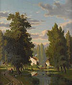 Eliza Agnetus Emilius Nyhoff  (Dutch, 1826-1903)  -  A stroll along the canal 43 3/4 x 38 1/2in (111 x 98cm)