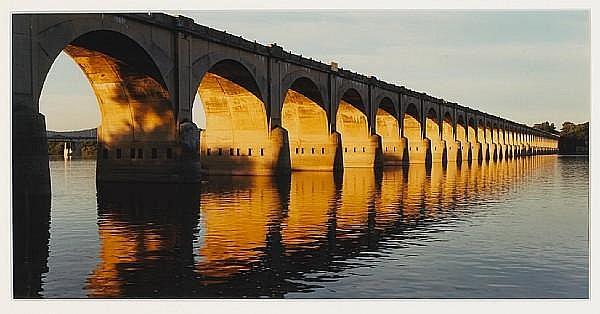 John Pfahl (American, born 1939); Morning Light on Railroad Viaduct, Harrisburg, PA, from Susquehanna series;