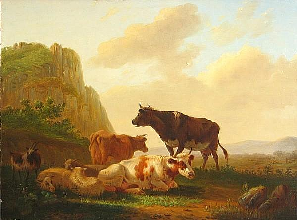 Matthijs Quispel (Dutch, 1805-1858) Cattle and sheep resting in a landscape 10 1/4 x 13 1/4in