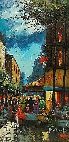 Henri Renard (French, 19th/20th Century) Parisian street scene 24 x 12in