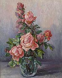 Mary Herrick Ross (American, 1856-1935) Pink roses in a vase 20 1/4 x 16 1/4in