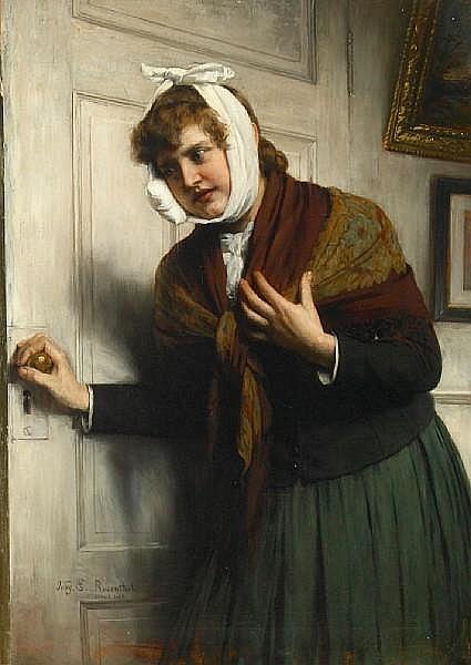 Tobias Edward Rosenthal (American, 1848-1917) Pray tell, the dentist!, 1889 25 1/2 x 17 3/4in