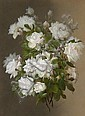 Raoul M. de Longpre (1843-1911) White roses 28 x 20 1/2in, Raoul de Longpre, Click for value