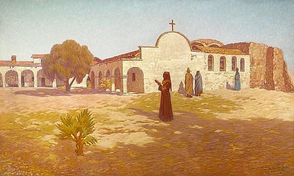 Warren E. Rollins (1861-1962) Mission San Juan Capistrano 30 x 50in