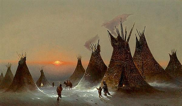 Jules Tavernier (1844-1889) Indian encampment 20 1/2 x 35in