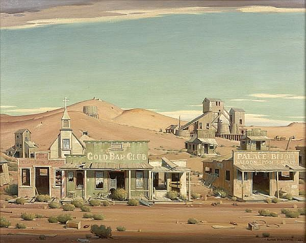 Clyde Forsythe (1885-1962) The Gold Rush, 1938; The Mining Camp, 1938; The Mining Town, 1938; The Ghost Town, 1943 (four painting allegory) each 38 x 48in