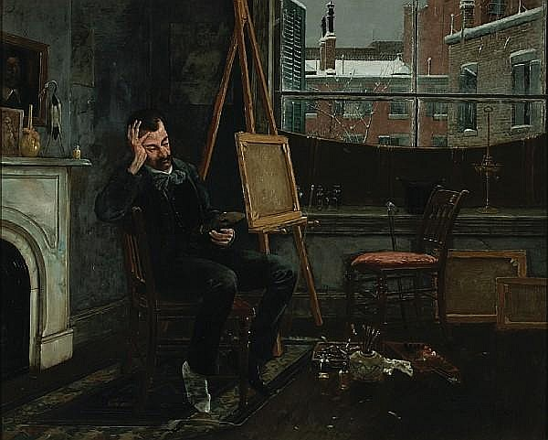 Henry Alexander (American, 1860-1894) The artist in his studio 22 1/4 x 27 1/4in