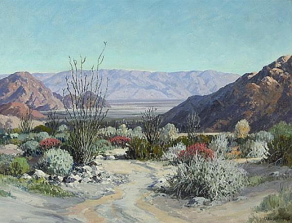 Carl Sammons (American, 1883-1968) La Quinta Canyon, Desert Lavender and Chuprosa, 1953 20 x 26in