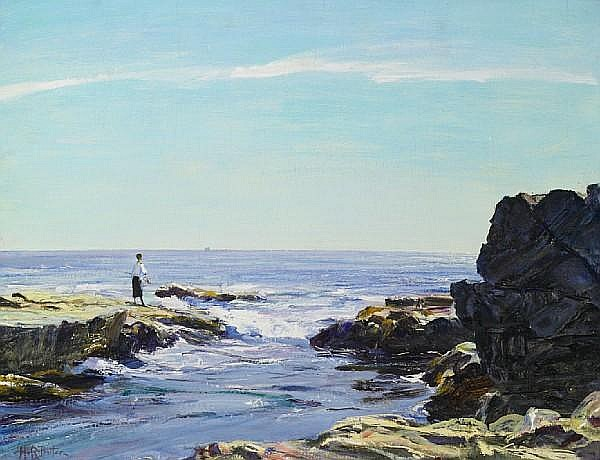 Howard Russell Butler (American, 1856-1934) Bright morning on the rocks, circa 1919 16 x 21in