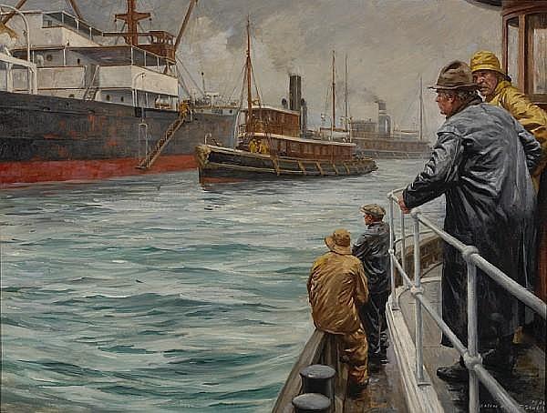 Anton Otto Fischer (American, 1882-1962) Tugboat Annie, 1938 24 x 32in