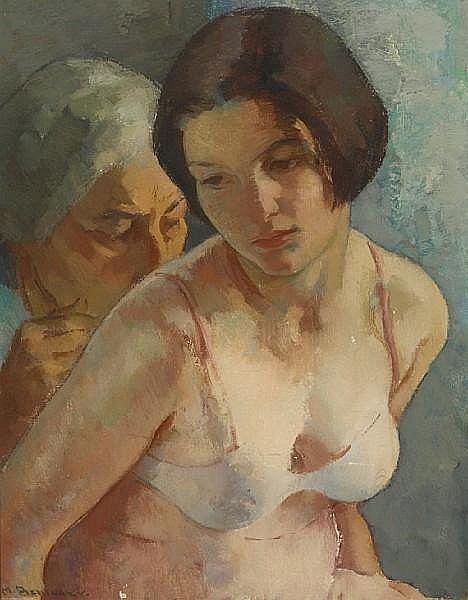 Mischa Askenazy (Russian/American, 1888-1961) The artist's wife and daughter (Two generations) 20 x 16in