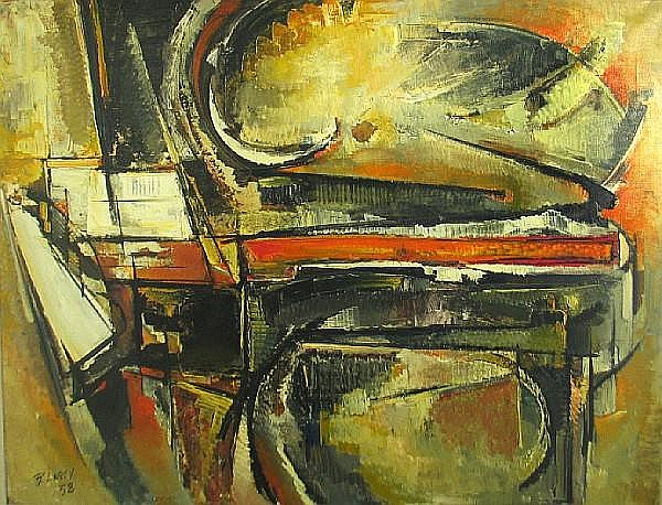 Roger Lersy (French, 1920-2004) Piano noir, 1958 44 3/4 x 57 1/4in