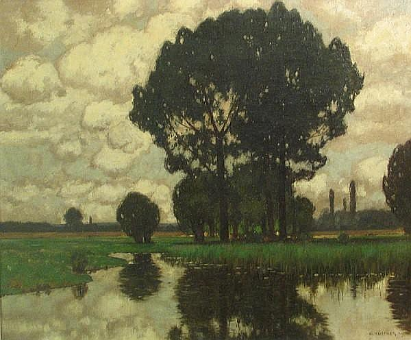 Carl Küstner (German, 1861-1934) Trees and reflections 30 x 35 3/4in