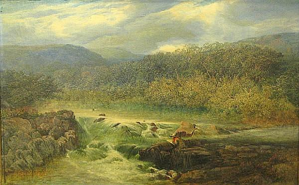Joseph Paul Pettitt (British, 1812-1882) A river landscape with an artist sketching on a rock mid-stream 14 x 22in