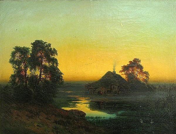 Bernhard Karl Mackeldey (German, ?-1879) A landscape at twilight 18 3/4 x 24 1/2in