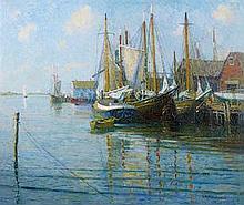 George Albert Thompson (American, 1868-1938) Fishing boats, Mys