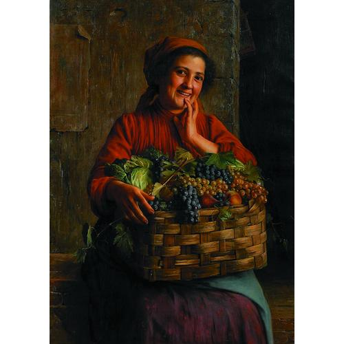 Giovanni Sandrucci Italian, 1828-1897 A Peasant Woman with a Basket of Grapes and Other Fruit Signed and inscribed u/l: G. Sandrucci Firenze Oil on