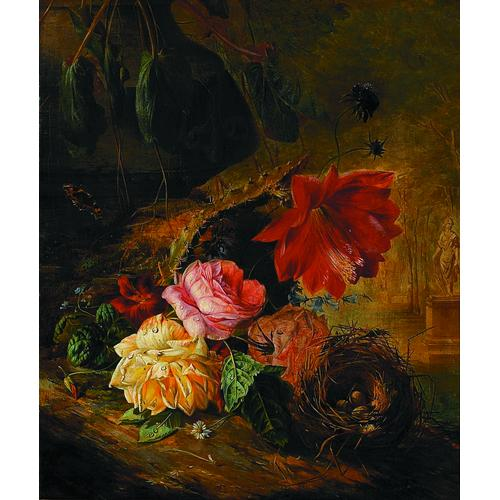 François Joseph Huygens Belgian, 1820-1908 A Still Life with Roses, Flowers, a Butterfly and a Bird's Nest Signed l/l: Huygens 1850 Oil on canvas 22