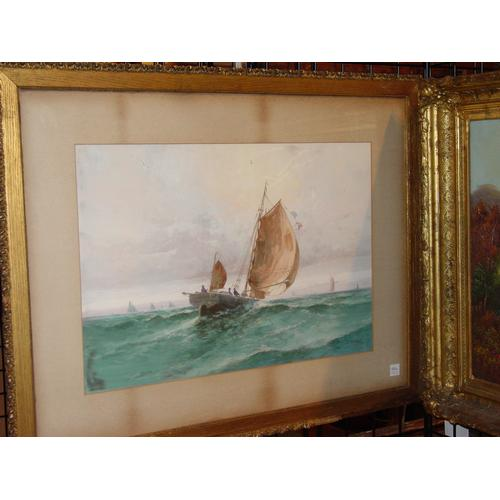 Clarence E. Braley American, 1854-1927 A Fishing Boat in Full Sail; also a watercolor of a Boat in an Estuary, by H. H. Warren (Two) Signed l/r: C.