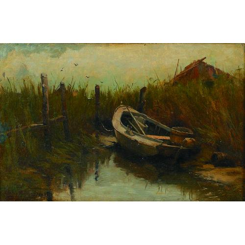 Charles Melville Dewey American, 1849-1937 A Boat at Low Tide Signed l/l: Charles Melville Dewey Oil on canvas 11 x 18in