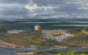 Larry Cohen-(born 1952)-Sunset and Coast Highway with a Storm Blowing By-, 1989 40 x 64in. (101.6 x 162.6cm)
