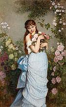 Auguste Toulmouche (French, 1829-1890) A special bunch of roses 18 1/2 x 1
