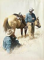 Melvin Warren (1920-1995) Trail Riders 28 x 22in