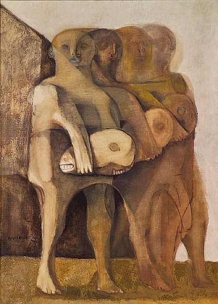 Morris Broderson (American, born 1928) Peon Carrying Head of Bull, 1960 50 x 36in