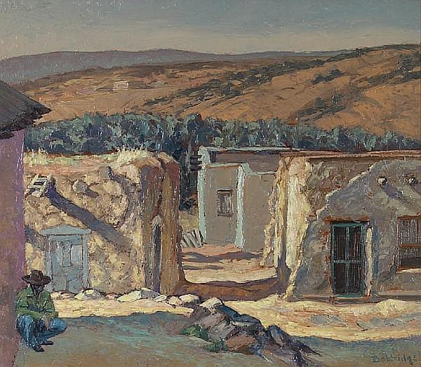 Cyrus Leroy Baldridge (American, 1889-1975) New Mexico village scene 19 1/2 x 22in