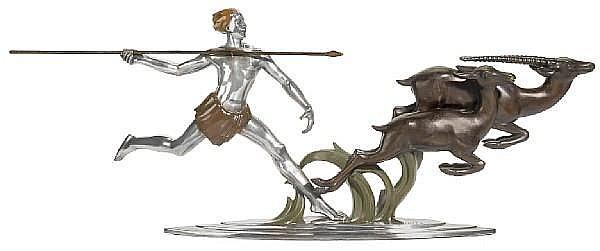 Alexandre Kelety (Hungarian, wk. Paris 1918-1940) Figural Hunter group, 1920s