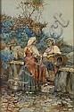 Giuseppe Aureli (Italian, 1858-1929) Two maidens at a fountain 21 x 13 1/2in, Giuseppe Aureli, Click for value