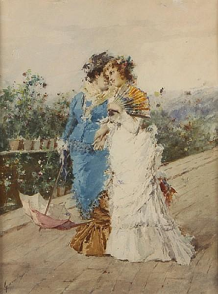 Enrico Gamba (Italian, 1831-1883) Two young ladies on a promenade 19 x 14 1/4in