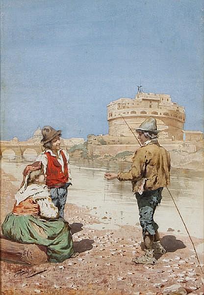 Giuseppe Aureli (Italian, 1858-1929) Fisherfolk on a coastal inlet sight 20 1/2 x 14 1/4in