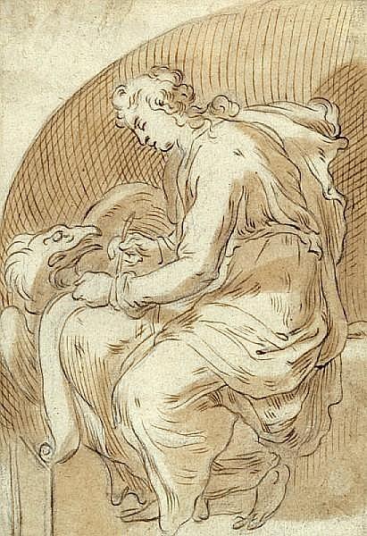 Cornelis (II) Bloemaert (Dutch, 1603-1680) St. John the Evangelist 7 3/8 x 5 1/8in