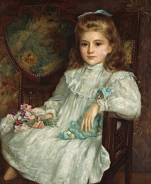 John Shirley Fox (British, born circa 1860-1939) A portrait of a young girl in a white dress holding her doll and a posy of sweet peas 30 x 25in