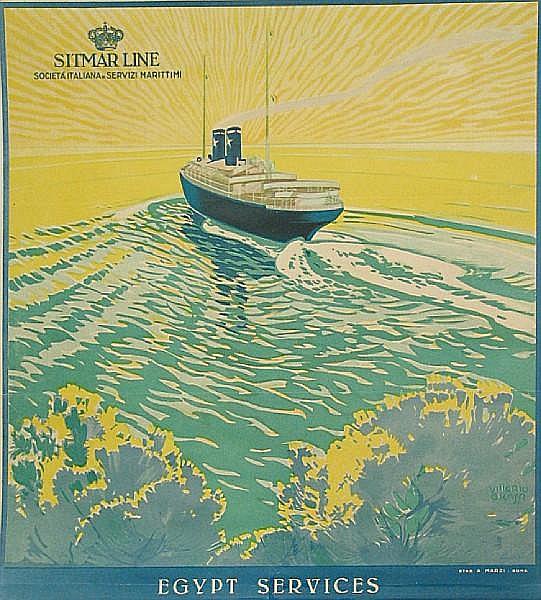 Vittorio Grassi (Italian, 1878-1958); Sitmar Line, Egypt Services;
