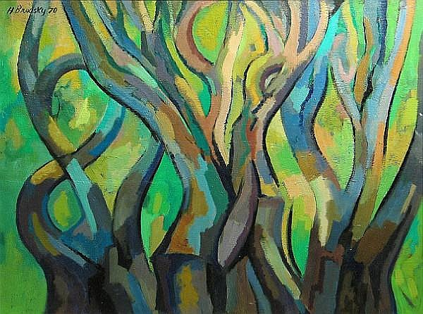 Harry Brodsky (American, 1908-1997) Trees, 1970 30 x 40in
