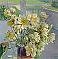 Mathias Joseph Alten (American, 1871-1938) Lotus blossoms on a porch 36 x 36in, Mathias Joseph Alten, Click for value