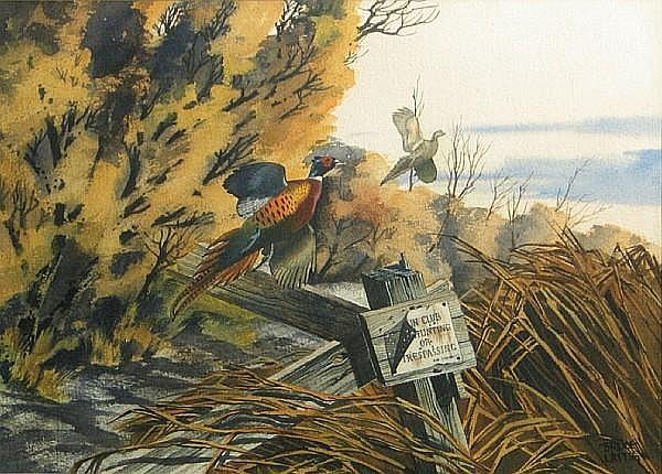Bruce Lattig (American, born 1933) Pheasants in flight sight 15 x 20 3/4in
