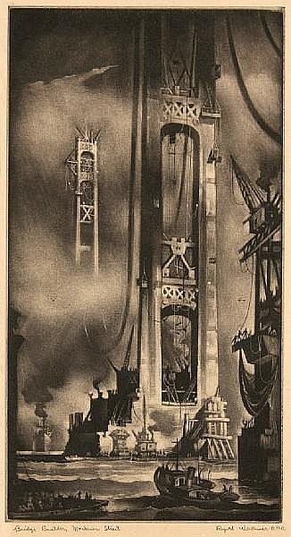 Reynold Henry Weidenaar (American, 1915-1985); Bridge Builders, Mackinac Straits;