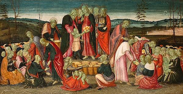 Arcangelo di Jacopo del Sellaio (Italian, 1477-died after 1530) The Miracle of the Loaves and Fishes 24 1/2 x 47 1/2in (62.2 x 120.6cm) unframed
