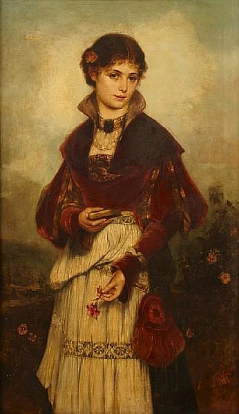Richard Eisermann (German, 1853-1927) A portrait of a girl, three-quarter-length 46 x 27 1/2in